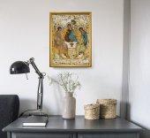 """Immagine di 'Quadro """"Trinità"""" di Rublëv con lamina oro e cornice dorata - dimensioni 44x34 cm'"""