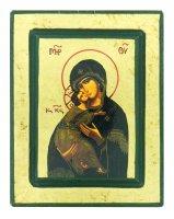 Icona Madonna di Vladimir, produzione greca su legno - 14,5 x 11,5 cm