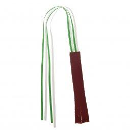 Copertina di 'Segnalibro in cuoio 4 nistole in doppio raso - dimensioni 14x2 cm, colore rosso'