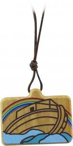 Copertina di 'Ciondolo Arca di Noè rettangolare in legno d'ulivo colorato con cordone - 3,5 x 2 cm'
