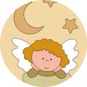 Immagine di 'Pala Angelo di Dio con angelo in legno colorato beige cm 28x12'