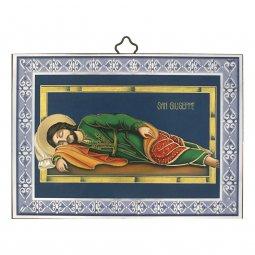 """Copertina di 'Icona in legno con cornice azzurra """"San Giuseppe dormiente"""" - dimensioni 10x14 cm'"""