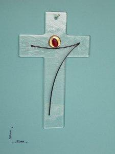 Copertina di 'Croce moderna in vetro con Cristo stilizzato - altezza 21 cm'