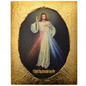 """Quadro su tela con contorno oro """"Gesù misericordioso"""""""