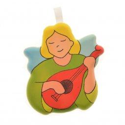 Copertina di 'Angioletto da appendere con mandolino - dimensioni 6x7 cm'