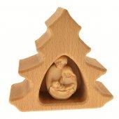 Alberello in legno con Natività lavorato a mano - altezza 10 cm