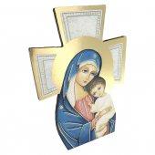 """Immagine di 'Croce sagomata con lamina oro """"Madre del Salvatore"""" - altezza 14 cm'"""