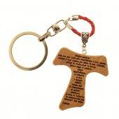 Portachiavi tau in legno d'ulivo - Padre Nostro (cordoncini con colori misti)