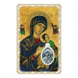 """Copertina di 'Card """"Madonna del Perpetuo Soccorso"""" con preghiera e medaglia - (10 pezzi)'"""
