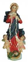 Statua di Maria che scioglie i nodi da 12 cm in confezione regalo con segnalibro in IT/EN/ES/FR