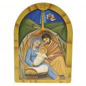 """Iconcina arcata in legno massello con lamina oro """"Natività con angelo"""" - dimensioni 12x8,5 cm"""