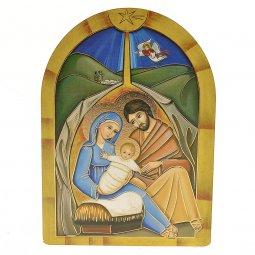 """Copertina di 'Iconcina arcata in legno massello con lamina oro """"Natività con angelo"""" - dimensioni 12x8,5 cm'"""
