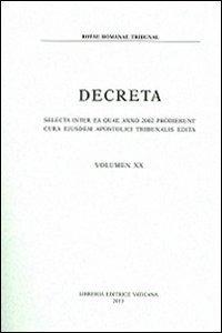 Copertina di 'Decreta volume XX anno 2002'