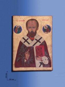 """Copertina di 'Icona in legno """"San Nicola con Cristo e la Madre di Dio"""" - dimensioni 36x26 cm'"""