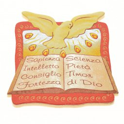 """Copertina di 'Calamita in polimero """"Colomba della Cresima e doni dello Spirito Santo"""" - dimensioni 6,2x6,5 cm'"""