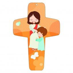 """Copertina di 'Croce arancione """"Gesù e il bambino"""" - altezza 13 cm'"""