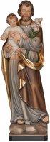 """Statua in legno dipinta a mano """"San Giuseppe con bambino"""" - altezza 34 cm"""