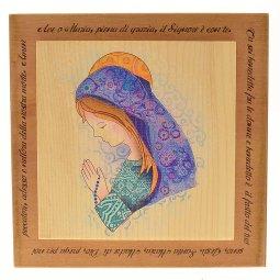 """Copertina di 'Quadretto in legno """"Madonna e Ave Maria"""" - dimensioni14x14 cm'"""