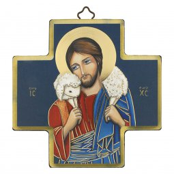 """Copertina di 'Croce in legno con lamina oro """"Gesù Buon Pastore"""" - dimensioni 12x12 cm'"""