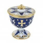 Pisside in ceramica dorata su fondo blu e bianco - altezza 16,5 cm