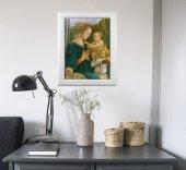 """Immagine di 'Quadro """"Madonna col Bambino e angeli"""" di F. Lippi con lamina oro e cornice con decorazione a sbalzo'"""