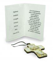 Immagine di 'Bomboniera Cresima bambino/bambina: croce in legno con scatola in italiano - 3 cm'