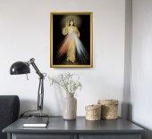 """Immagine di 'Quadro """"Gesù Misericordioso"""" con lamina oro e cornice dorata - dimensioni 44x34 cm'"""