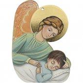 """Icona sagomata """"Angelo custode"""" con cartoncino-preghiera - dimensioni 9x13 cm"""