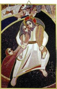 Copertina di 'Quadro Buon Pastore di Padre Rupnik cm 20x27 con bolla Giubileo Misericordia'