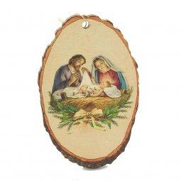 """Copertina di 'Corteccia di legno con """"Natività e vischio"""" - altezza 10 cm'"""