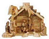 Presepe a capanna in stile moderno completo di Magi e pastore - dimensioni 21x19 cm
