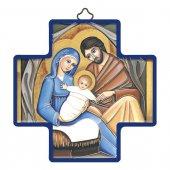 """Croce in legno con lamina oro """"Famiglia di Nazareth"""" - dimensioni 12x12 cm"""