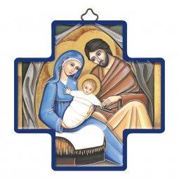 """Copertina di 'Croce in legno con lamina oro """"Famiglia di Nazareth"""" - dimensioni 12x12 cm'"""