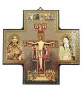 Croce icona San Damiano stampa su legno - 15 x 15 cm