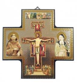 Copertina di 'Croce icona San Damiano stampa su legno - 15 x 15 cm'