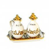 Ampolline anfora in ceramica con simbolo IHS - Modello Girali verdi - oro