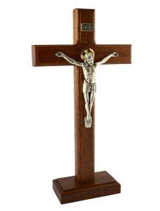 Copertina di 'Croce in legno di faggio con base e corpo in metallo - dimensioni 24x13 cm'