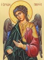 Immagine di 'Icona Arcangelo Gabriele dipinta a mano su legno con fondo orocm 16x19'