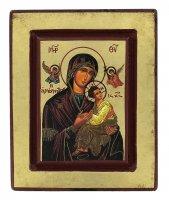 Icona Perpetuo Soccorso (Madonna della Passione), produzione greca su legno - 14 x 11,5 cm
