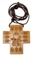 Croce Prima Comunione in ulivo con calice e spighe - 5,5 x 4,5 cm