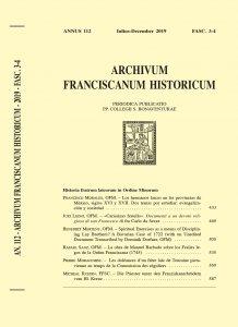 Archivum Franciscanum Historicum n. 2019/3-4