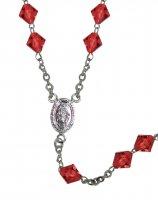 Immagine di 'Rosario cristallo rondello con grani mm 7 color rubino legatura in argento 925'