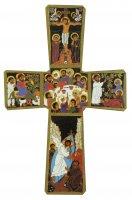 Croce Passione di Gesù stampa su legno di spessore alto - 14 x 9 cm