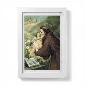 """Quadretto """"Sant'Antonio di Padova con Bambinello"""" con passe-partout e cornice minimal - dimensioni 15x10 cm"""
