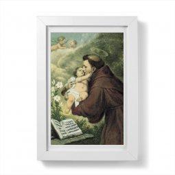 """Copertina di 'Quadretto """"Sant'Antonio di Padova con Bambinello"""" con passe-partout e cornice minimal - dimensioni 15x10 cm'"""