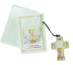 Copertina di 'Bomboniera comunione bambino/bambina: croce in legno con scatola in italiano - 3,5 cm'