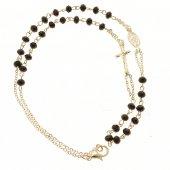 Collana rosario con grani sfaccettati neri