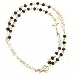 Copertina di 'Collana rosario con grani sfaccettati neri'