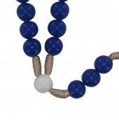 Immagine di 'Rosariocon grani in plastica blu e pater bianchi, diametro 7,5 mm, con legatura in seta e croce in legno'
