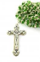 Immagine di 'Rosario semicristallo verde con strass bianchi'